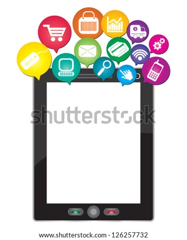 Online Business and E-Commerce Concept Present By Tablet PC With Blank Screen For Your Own Text Message and Group of Colorful E-Commerce Icon Above Isolated on White Background - stock photo