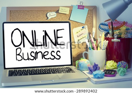 Online Business / Internet business concept note on laptop in office - stock photo