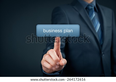 Online business plan concept. Businessman click on button with text business plan.  - stock photo