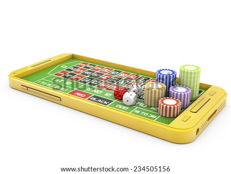Online casino concept with smartphone, standard roulette layout and chips isolated - stock photo