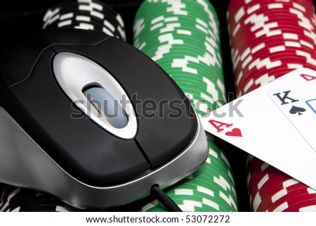 Online chips and cards (casino games) - stock photo