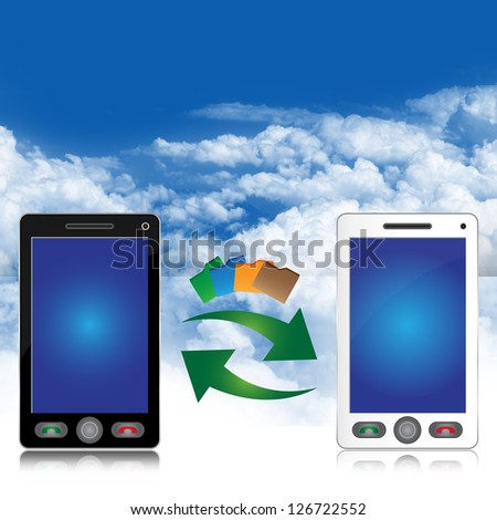 Online Communication and Data Transfer Concept Present By Black and White Smart Phone With Data Transfer Icon in Blue Sky Background With Some Space For Your Own Text Message Above - stock photo