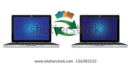 Online Communication and Data Transfer Concept Present By Computer Laptop With Peer-to-Peer Data Transfer Isolated on White Background - stock photo