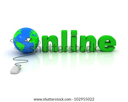 Online concept, Computer mouse with arrow cursor and globe on white background with reflection - stock photo