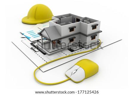 Online construction concept - stock photo