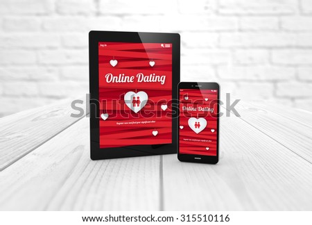 Online dating website on a digital generated tablet display  and smartphone. All screen graphics are made up. - stock photo