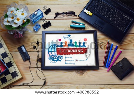 Online e-learning design concept and group of people on wooden office desk. Online e-learning concepts for business, consulting, finance, management.