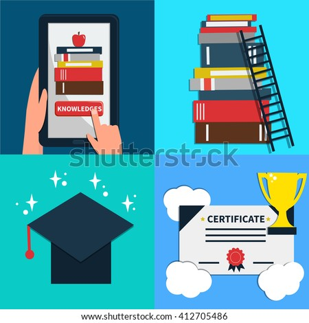 Online education concept banner. Concepts for web banners and promotional materials. - stock photo