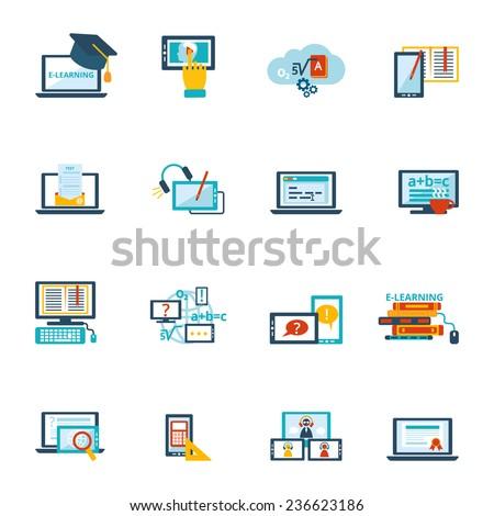 Online education e-learning video tutorial training flat icons set  illustration - stock photo