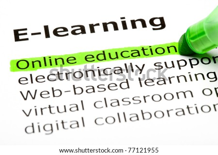 Online education highlighted in green, under the heading E-learning. - stock photo