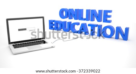 Online Education - laptop notebook computer connected to a word on white background. 3d render illustration. - stock photo