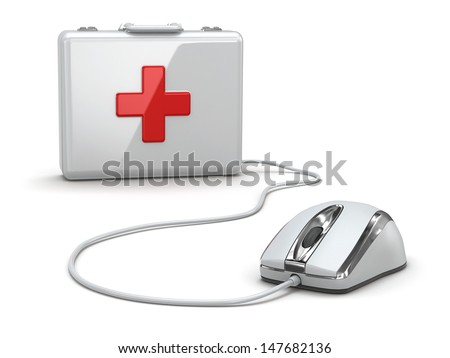 Online first aid. Mose and medical kit. 3d - stock photo