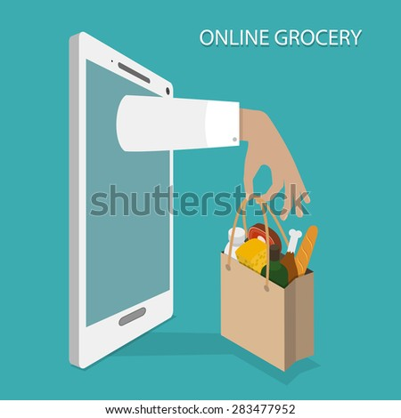 Online Grocery Ordering, Delivery Concept Flat Isometric Illustration of Hand With Bag of Foods Appeared From Smartphone or Tablet. - stock photo
