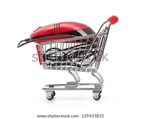 Online Internet Shopping.  isolated on white background - stock photo