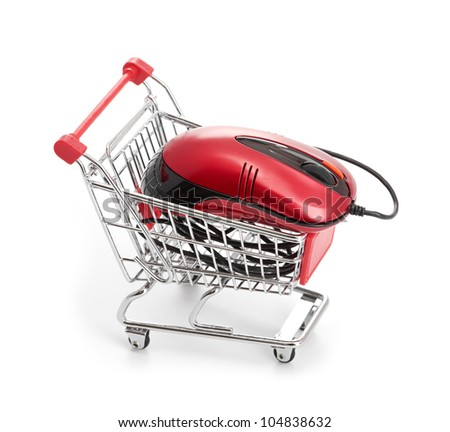 Online Internet Shopping. Shopping Trolley with Mouse on the white - stock photo
