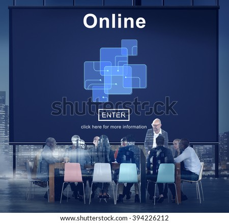 Online Internet Social Media Networking Connection Concept - stock photo