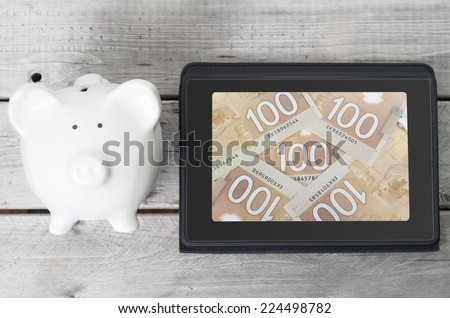 Online investment concept with 100 dollars background and a piggy bank - stock photo