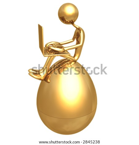 Online Investment Sitting On Gold Nest Egg With Laptop - stock photo