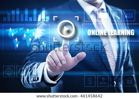 online learning, business, technology and internet concept: businessman are using a virtual computer and are selecting online learning.
