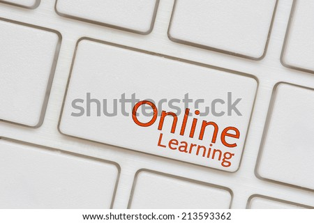 Online Learning button on Computer Keyboard - stock photo