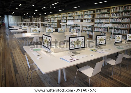 Online Learning Center E-learning Library Concept - stock photo