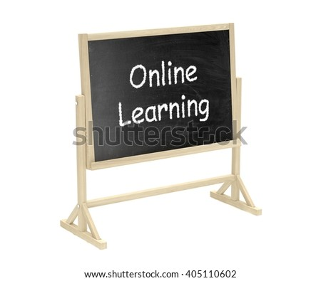 Online learning concept. Blackboard, chalkboard isolated on white. 3d rendering.