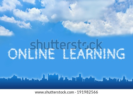 online learning text on cloud with blue sky - stock photo