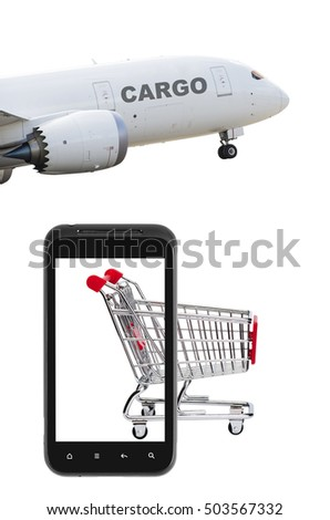 Online market with cargo airplane