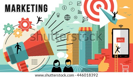 Online marketing business illustration with modern designs in flat line art style showing how to achieve work goals. - stock photo