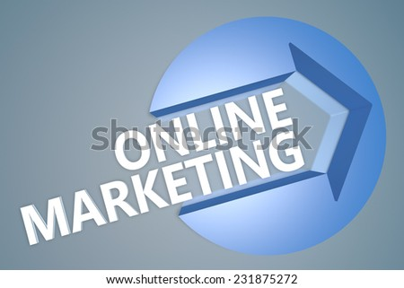 Online Marketing - 3d text render illustration concept with a arrow in a circle on blue-grey background
