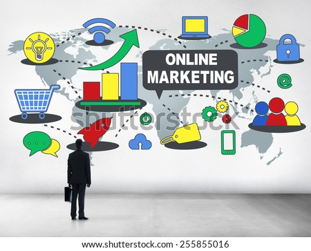 Online Marketing Strategy Growth Business Concept - stock photo