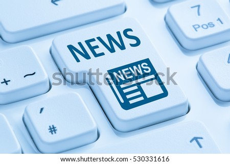 Online newspaper news symbol blue computer keyboard