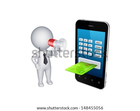Online payments concept.Isolated on white.3d rendered. - stock photo