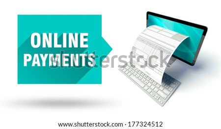 Online payments concept, network computer with online tax form or invoice - stock photo