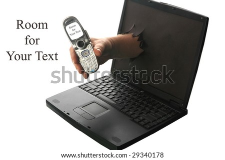 Online phone concept a human hand reaches though a computer screen and hands the user a cell phone with room for text - stock photo
