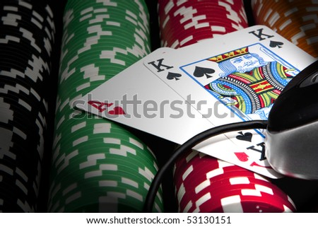 Online poker - stock photo