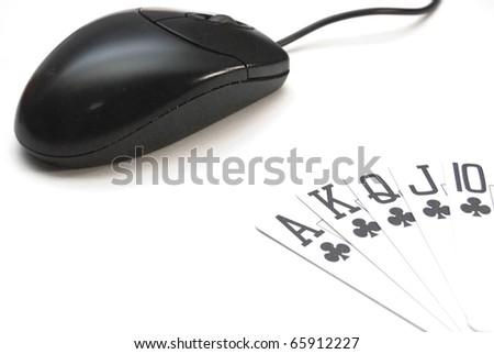 Online poker gambling concept full house on computer - stock photo