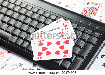 online poker gambling . poker cards - stock photo