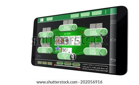 online poker game on mobile, isolated on white