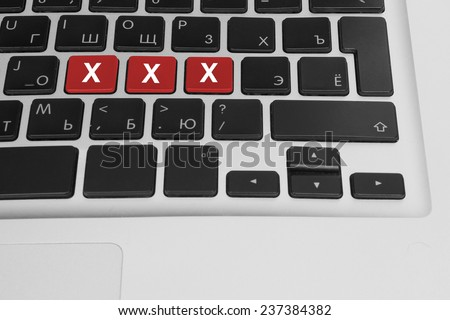 Online porn concept. xxx buttons on the computer keyboard