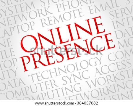 Online Presence word cloud concept - stock photo