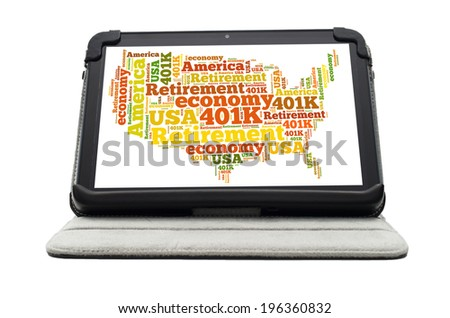 Online retiring plan concept with a mobile device showing a word cloud - stock photo