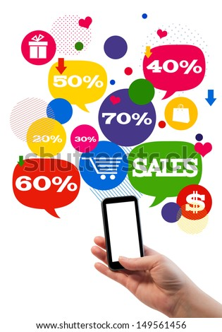 Online sales shopping or shop business template./ Hand holding mobile/cell phone, colorful bubbles/buttons floating of it with online shopping icons and sales percents.