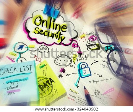 Online Security Internet Protection Concepts  - stock photo