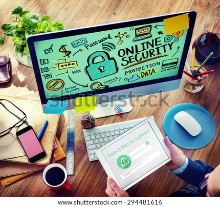 Online Security Password Information Protection Privacy Internet Concept - stock photo