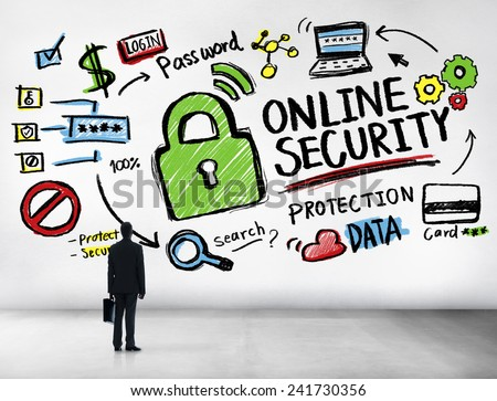 Online Security Protection Internet Safety Businessman Standing Concept - stock photo