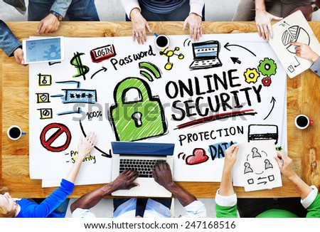 Online Security Protection Internet Safety People Meeting Concept - stock photo