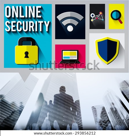 Online Security Protection Password Privacy Data Concept - stock photo