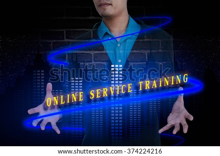 ONLINE SERVICE TRAINING message double exposure concept with bus - stock photo