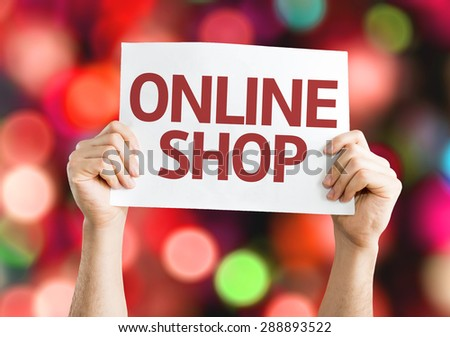 Online Shop card with bokeh background - stock photo